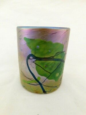 B Shaub Art Glass Tumbler / Candle Holder Leaf Iridescent