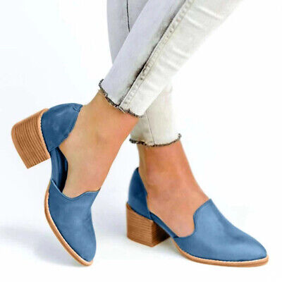 Trendy Women Spring Sandals Blue Black Color High Thick Heels Plus Size LH