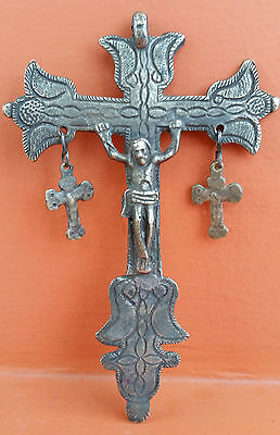 GENUINE SPANISH COLONIAL  BIG CRUCIFIX CROSS BRONZE 18th