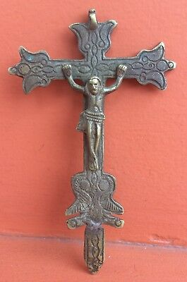 "Antique Genuine Colonial Cross Crucifix Spanish Bronze 5.80"" Inches 1800s"
