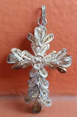 Beautiful  Holy Cross  Crucifix  Sterling Silver  Filigree Old