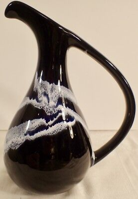 Blue Mountain Pottery Canada BMP Large Ewer Vase Granite-Cobalt Glaze 10 3/4""