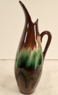 "CCC Pottery Canadian Ceramic Craft Ewer Brown Green Drip Glaze 8 1/2"" Tall"