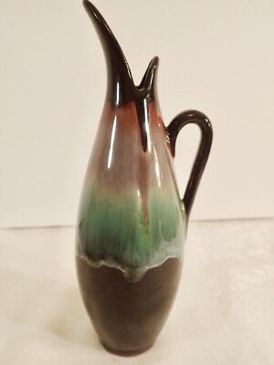 "CCC Pottery Canadian Ceramic Craft Ewer Multi-Color Drip Glaze 8 1/2"" Tall"