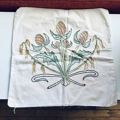 Antique Arts & Crafts Hand Embroidered & Painted Pillow Cover Floral Thistle ?
