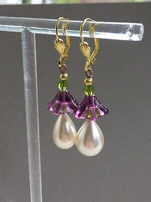 Art Deco style suffragette glass vintage pearl , glass flower earrings
