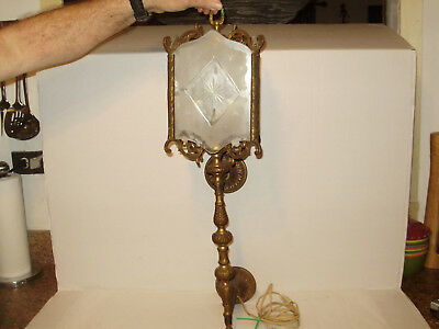 Antique Brass &  Frosted Glass Victorian Torch Light Electric 2 Light Wall Scone