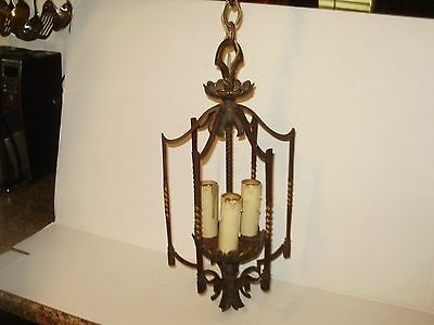 Antique Cast Iron Spanish Revival Bronze 3 Lights Hanging Light
