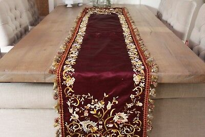 Antique Hand Made Embroidered Altar Cover Cloth Of A French Church.