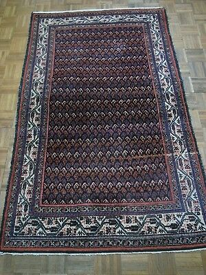"Antique Middle Eastern Hamadan rug 4'3"" x6'11"" full pile and all natural dyes."