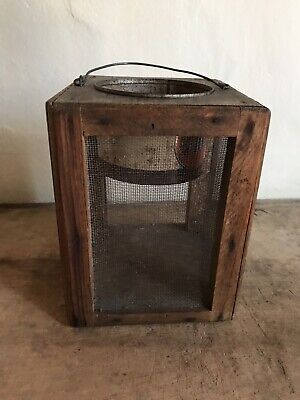 BEST Old Antique Handmade Wooden Cricket Cage Carrier Patina Bail Handle AAFA