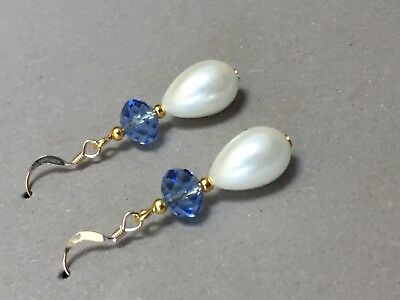 Art Deco vintage style pearl blue  crysta 14ct rolled gold earrings