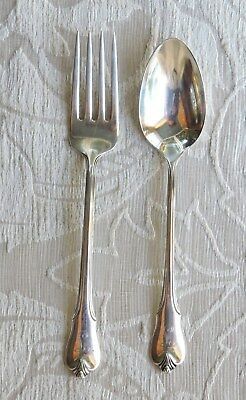 Charming Christening Sterling Fork & Spoon, Wallace Grand Colonial Pattern 1940s