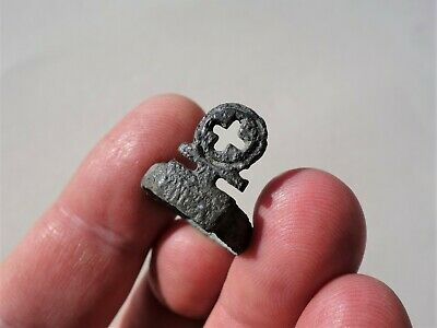 ancient Roman bronze ring key,with carved cross, to wearing on finger