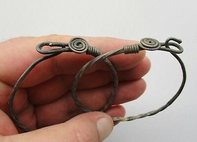 Ancient pair Norse-Viking Anglo-Saxon wire rope silver bracelets 800 - 1100 A.D.