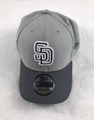 buy online 8bdd6 e427a New Era San Diego Padres Gray Fitted Hat Cap 39THIRTY Size L-XL