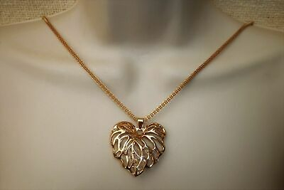 Gold Plated Filigree Large Heart Pendant Necklace Jewel Crystal Bling Lady B2G