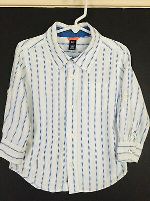 Baby Gap Long Sleeve Blue Striped Button Up Shirt Toddler Boys Sz 3 Yrs EUC