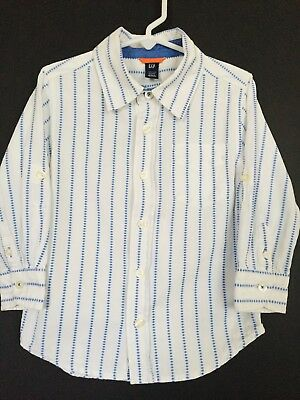 Baby Gap Long Sleeve Blue Striped Button Up Shirt Boys Size 4 Yrs EUC