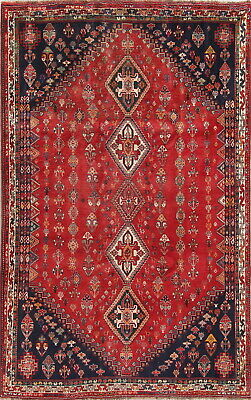 One-of-a-Kind Nomadic Tribal Handmade Wool Abadeh Persian Oriental Area Rug 6x9