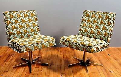 Home Office Chairs / Mid-Century / Original Chrome / New Upholstery / Swivel / 2
