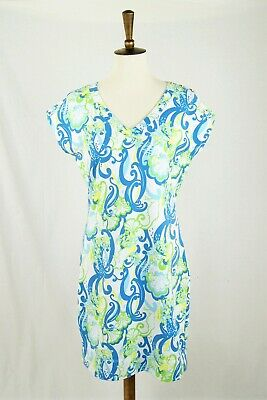 7580fa22db5ba5 Lilly Pulitzer Hayley French Terry Cotton White Crystal Coast Mini Dress  Size M