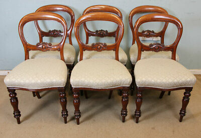 Set Six Antique Victorian Mahogany Balloon Back Dining Chairs