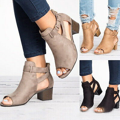 Women Peep Toes Buckle Anke Boots Sandals Lady Block Mid Heels Summer Shoes Size