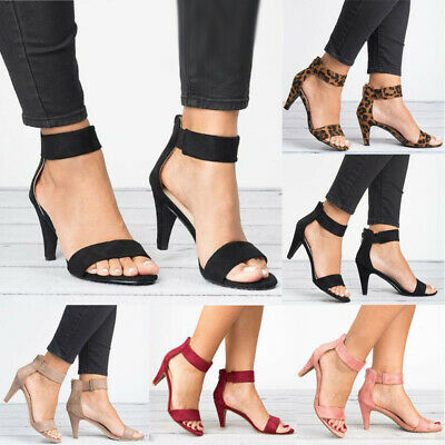 Women Kitten Heels Ankle Strap Peep Toe Sandals Ladies Summer Party Casual Shoes