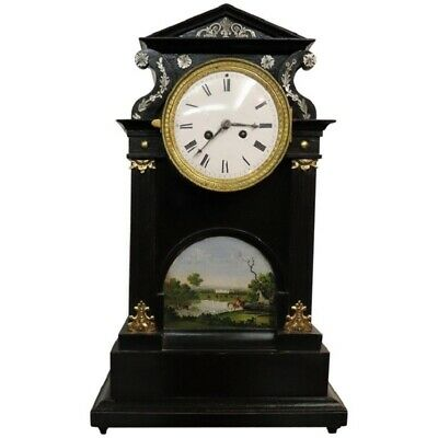 19th Century antique  Inlaid  Wood with Miniature Painting Table Clock Pendule