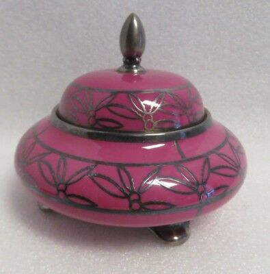 Vintage Art Deco Porcelain & Sterling Silver Overlay Circular Footed Container.