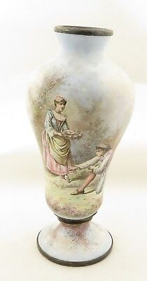 Antique 19th Century French Limoges Finely Hand Painted Enamel on Copper Vase.