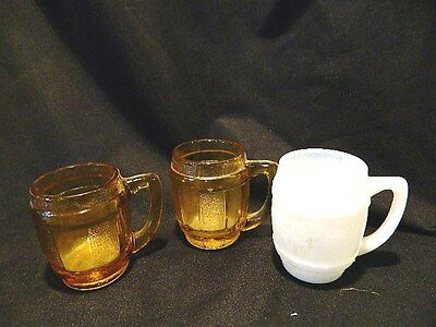 vintage 2 amber & 1 Milk glass mini barrel mug shot glass toothpick holder