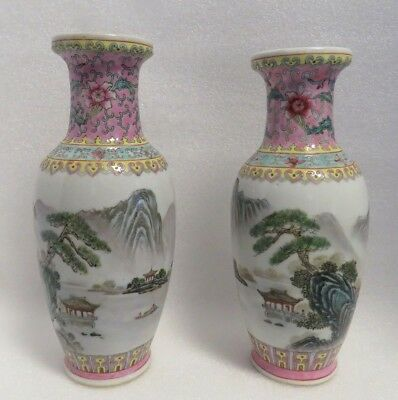 2 Vintage Republic Period Signed Hand Painted Chinese Porcelain Baluster Vases.
