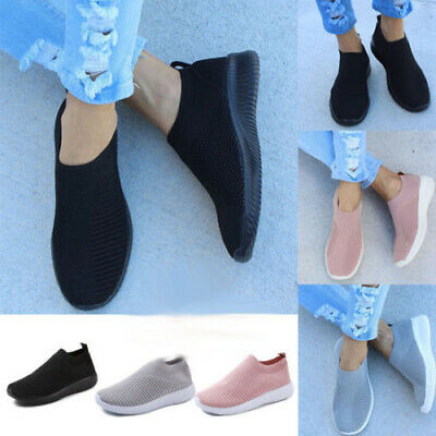 Womens Ladies Breathable Trainers Sneakers Mesh Comfy Slip On Sport Gym Shoes