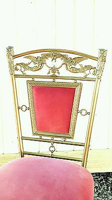 Antique Chair Victorian Ornate Chair Siren Mermaid Lions With Velvet Rare