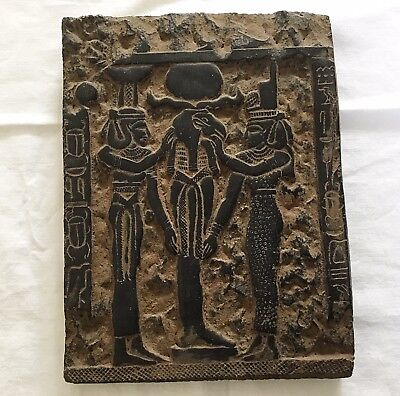 Rare Large Ancient Egyptian  Black Carved Luxor Stone Panel Of God Thorth.2000BC