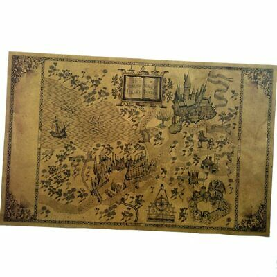 Map of The Wizarding World of Harry Potter Poster Movie Vintage Paper