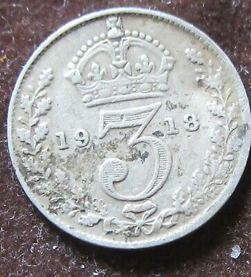 British - 1918  George V  Three Pence - Silver coin.