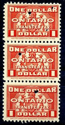Weeda Ontario OST26 VF used strip, $1 1935 Stock Transfer Tax revenue CV $97.50