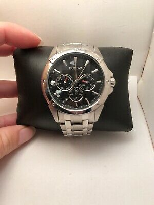 Bulova Classic Men's 96C107 Quartz Chronograph Black Dial 43mm Bracelet Watch 51