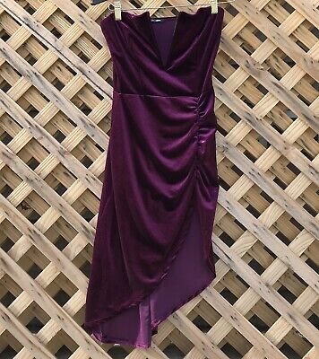 ddc6b23e973c5b FASHION NOVA Purple Strapless Velvet Prom Party Dress Size Small