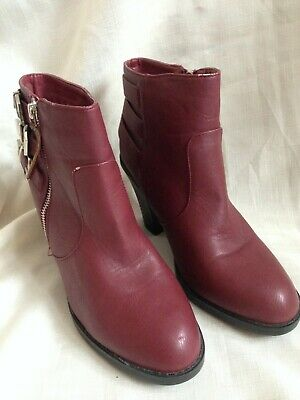 New Look Red Block Heel Ankle Boots Size 7 / 40