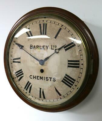 Antique English Mahogany Station Dial Wall Clock Fusee Chemists Public Clock