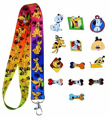 Dog Theme 5 Trading Pins and Pluto Lanyard Set Walt Disney Parks ~ Brand NEW