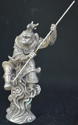9.15Inch China Ancient Tibet Silver Wear Robe Monkey King Gold Hoop Royal Statue