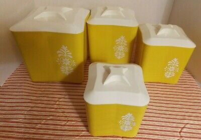 Vintage Plastic Nesting Canister Set 1970s Green with White Flowers Set of 4