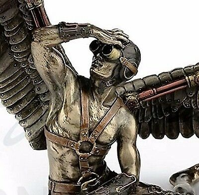 STEAMPUNK Nude Male Bronze color Angel with Wings Statue Sculpture NEW $150