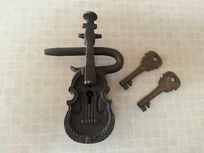 Large 5.25 in Antique Style Cast Iron & Brass Violin Shaped Padlock Lock 2 Keys