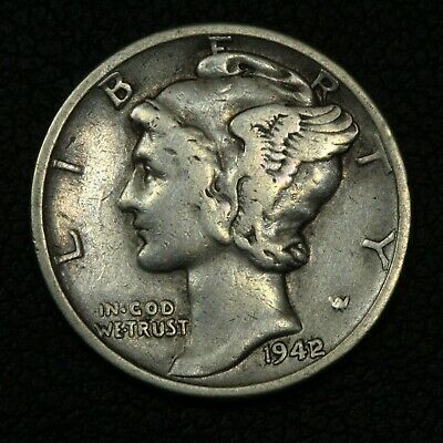 1942/1 Mercury Silver Dime - Cleaned